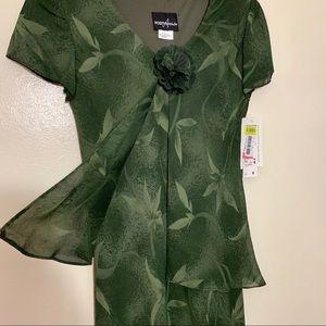NWT Beautiful Sheer Green Positive Attitude Dress